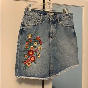 Zara Asymmetrical Denim Skirt